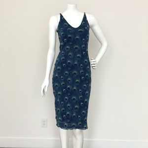 Dresses & Skirts - Summer dress with peacock print size S
